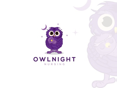 Owlnight Nursing uk owl illustration baby owlkid kid owls takingcare care nursing night owl designagency freelancer brandidentity upwork illustration logoexcellent creativelogo typography fiverr