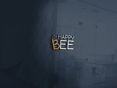 Happy Bee minimalist contextual text minimal freelancer logo happy bee distinctive distinct fiverr design brandidentity logo graphicdesign freelancer logoexcellent creativelogo typography