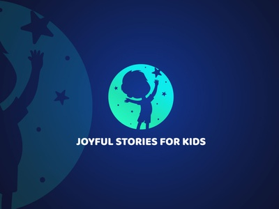 Joyful Stories for kids sky stars japan fiverrgigs freelancer design logoexcellent creativelogo brandidentity typography fiverr storybook play boy girl kids stories joyful