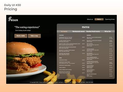 #dailyui #30 pricing restaurant pricing page ui desgin web design uidesign figma ui app design dailyui