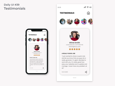 #dailyui #39 Testimonials user inteface accessibility mobile-first user-friendly testimonials appdesign webdesign uidesign ui design dailyui