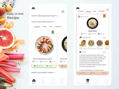 #dailyui #40 Recipe figma meal planner recipe app appdesign uidesign dailyui
