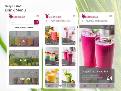 #dailyui #43 Drink Menu drink menu uiux app design appdesign uidesign figma app ui design dailyui