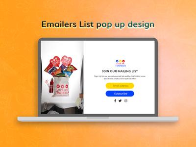 Email list pop up design