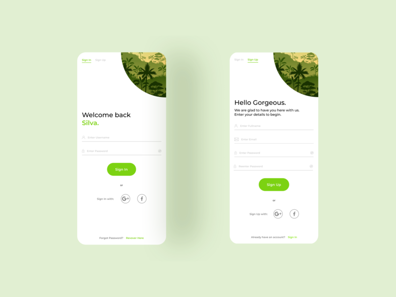Daily UI Challenge Day 001 ux ui mobile login design sign up login screen mobile ui app design