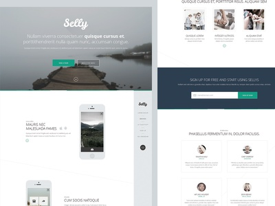 Free PSD - Clean Landing Page landing page psd free freebie flat one page single page clean simple webdesign testimonials iphone