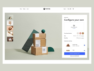 Product Page - Quick config interface packhelp ui design ux design user interface packaging photography cross sell up sell configurator product page landing page