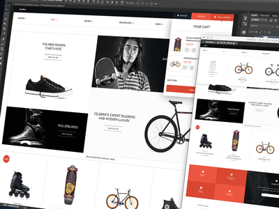 Shoplifter eCommerce Theme [WiP] home page landing page shopping cart products grid website store shop template ecommerce ux design ui design