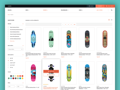Shoplifter Product Page shopping cart basket buy products filter website store shop template ecommerce ux design ui design