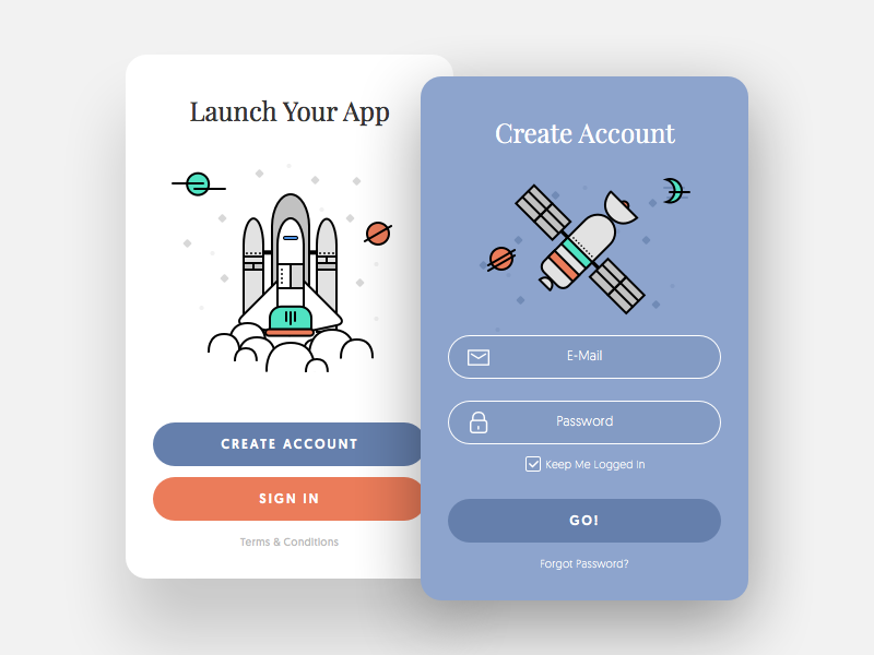Sign Up Window - Daily UI #001 ux design ui design login mobile app space ship illustration modal icon mobile dailyui sign up sign in