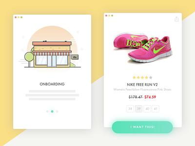 E-Commerce Shop (Single Item) - Daily UI #012 shop dailyui application mobile app interface wishlist shopping cart product tour onboarding ux design mobile