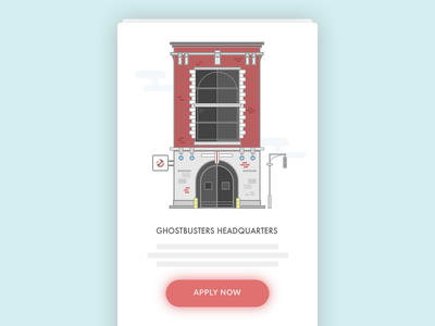 Ghostbusters Headquarters Illustration call to action building onboarding vector sketch illustration icon application app mobile