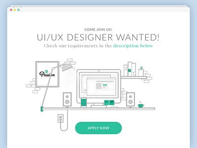 UI/UX Designer Wanted! mobile app landing page application product space designer work desktop job career icon illustration