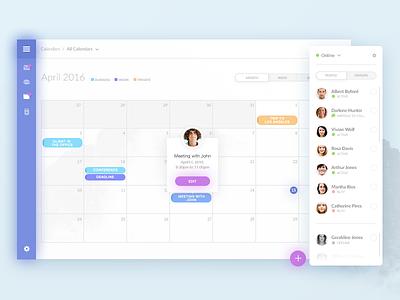 Calendar App web app ux design user interface user experience ui design sidebar navigation dashboard chat calendar application admin