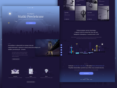 Landing Page - DronVision icon place house ticket contact city illustration hero image night single page home page landing page