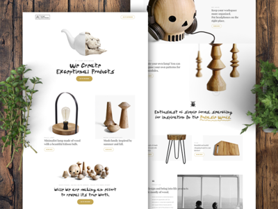 Home And Wood Store ux ui homepage web website typography products wood store shop ecommerce landing page