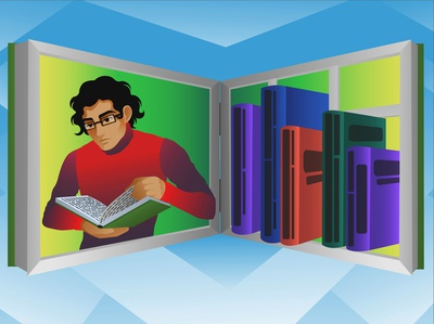 Library to read reading book turtleneck black hair guy librarian books library vector illustration