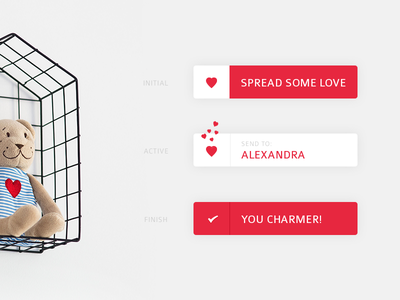 #083 | Button animation love button daily dailyui app ui challenge clean interface