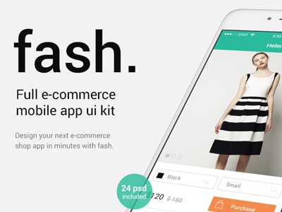 Fash. Mobile eCommerce App UI Kit ecommerce iphone online shop ui ui kit mobile payment checkout material design e-commerce app e-commerce checkout ui shop app