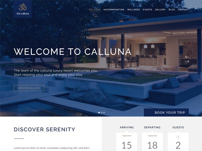Calluna Luxury Hotel Website vacation travel spa resort motel luxury hotel holiday booking apartment accommodation hotel website