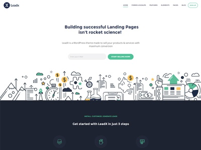 Landing Page Theme - LeadX lead generation lead marketing page conversion page product landing page