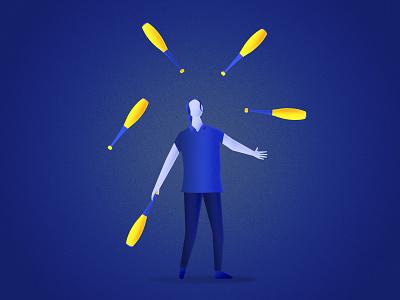 Juggler color design circus character vector illustration