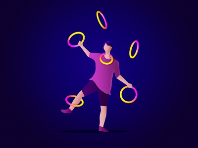 Juggler No. 02 juggling circus illustration design color character vector