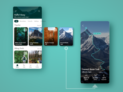 Trekking App UI hiking ui app mobile uidesign travel trekking