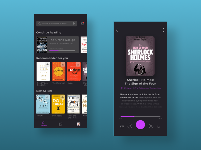 Audio Book Mobile App dark ui dark theme mobile ui mobile books player ui audio book app design ux uiux uidesign ui app design