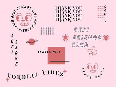 best friends club best friend aesthetic logo branding illustration design vector pink typography