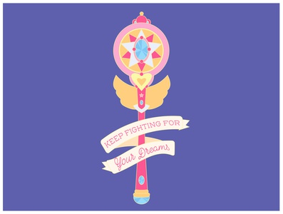 Keep Fighting for Your Dreams dreams cute illustrator purple pink girly pin sailor moon illustration vector design sailormoon typography feminism magical girl