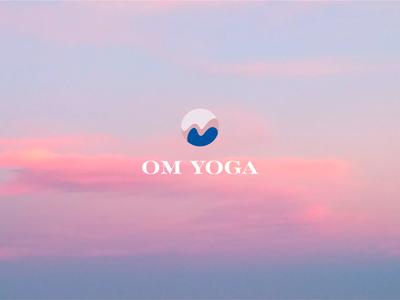 Om Yoga logo om tranquil blue pink type yoga logo