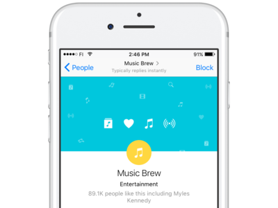 Music Brew chatbot product ux design music bot