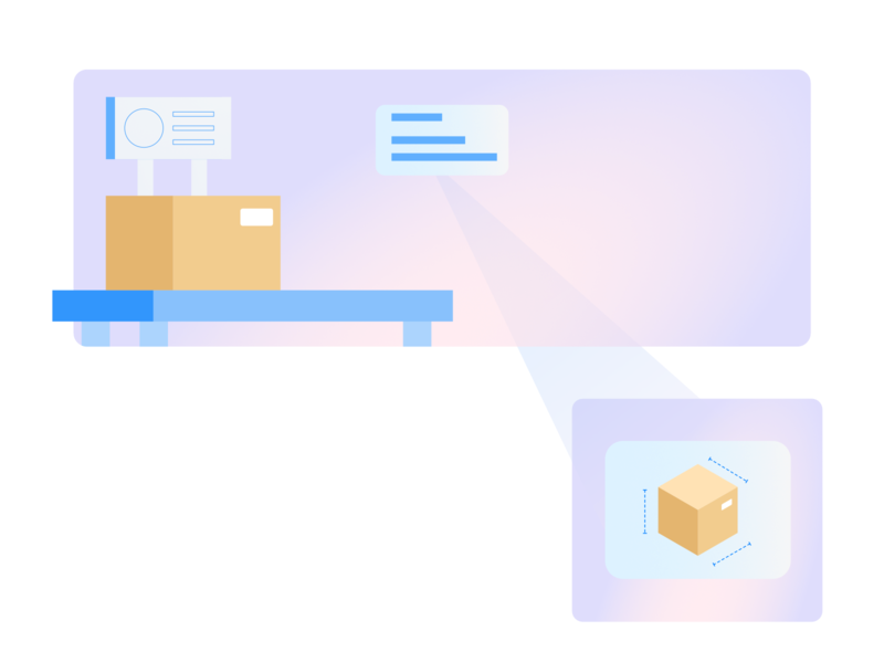 Label scanning gradients illustration ux design box table fulfillment shopping warehouse isometric scanning parcel