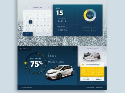 Purchases Section Webpage  blue responsive mobile desktop product clock car icon goal progress ui web design