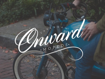 Onward Mopeds Logotype stamp photography typography lettering mopeds branding script logotype logo