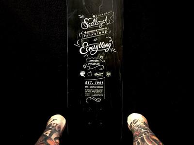 Résumé Engraved on Skateboard typography drawing hand drawn type custom skateboard cutter laser engraved résumé