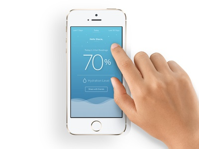 User Interface for Hydration Level app interactive blue phone mobile ios ui