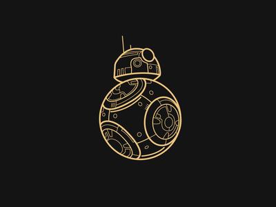 Baller BB-8 cute robot starwars illustration gold black art vector bb8