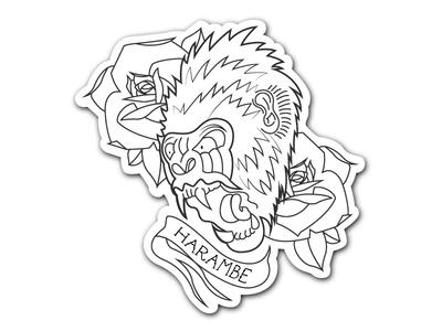 Harambe Sticker Pre-cut roses type flowers rip gorilla tattoo art vector sticker harambe