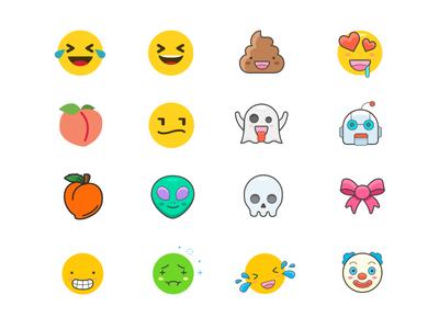 Booty Alert Emoji Set faces alien robot booty phone emoji interface ux poop funny app emojis