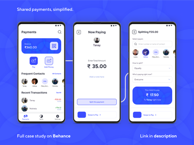 Shared Payments/E-wallet App uidesign uxdesign payment app bill splitting app ui appui app design ux uxui ui app payment