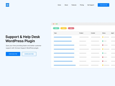 Octrace Support - Landing Page wordpress plugin illustration table hero landing