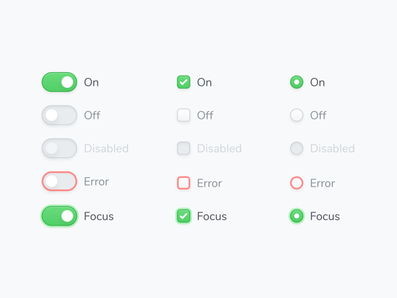 🖥 Components (Switch, Checkbox & Radio) interface radio button checkbox switch ux components sketch design simple ui clean