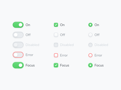 Components (Switch, Checkbox & Radio) interface radio button checkbox switch ux components sketch design simple ui clean