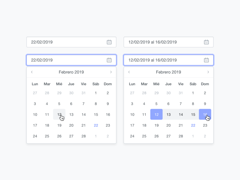 Date picker calendar select dropdown date range date picker date ux simple ui clean