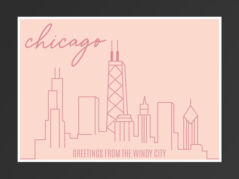 Chicago Postcard travel chicago postcard illustration design rebound dribble dribbleweeklywarmup
