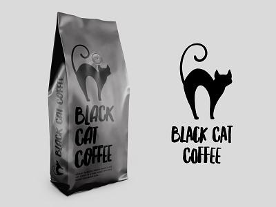 Black Cat Coffee illustration product design mockup coffee designer logo cat design branding rebound dribbleweeklywarmup dribble