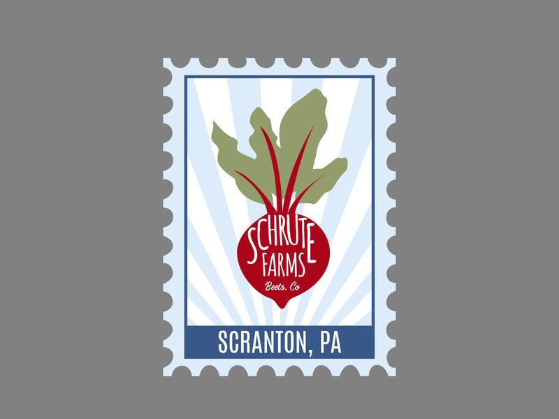Scranton Postage Stamp the office postage stamp scranton beets dwight schrute schrute farms illustration design rebound dribbleweeklywarmup dribble