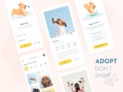 Pet Adoption App friend animal card search sign in illustration dogs animals adopt concept ui minimal help rescue shelter adoption pets pet design app